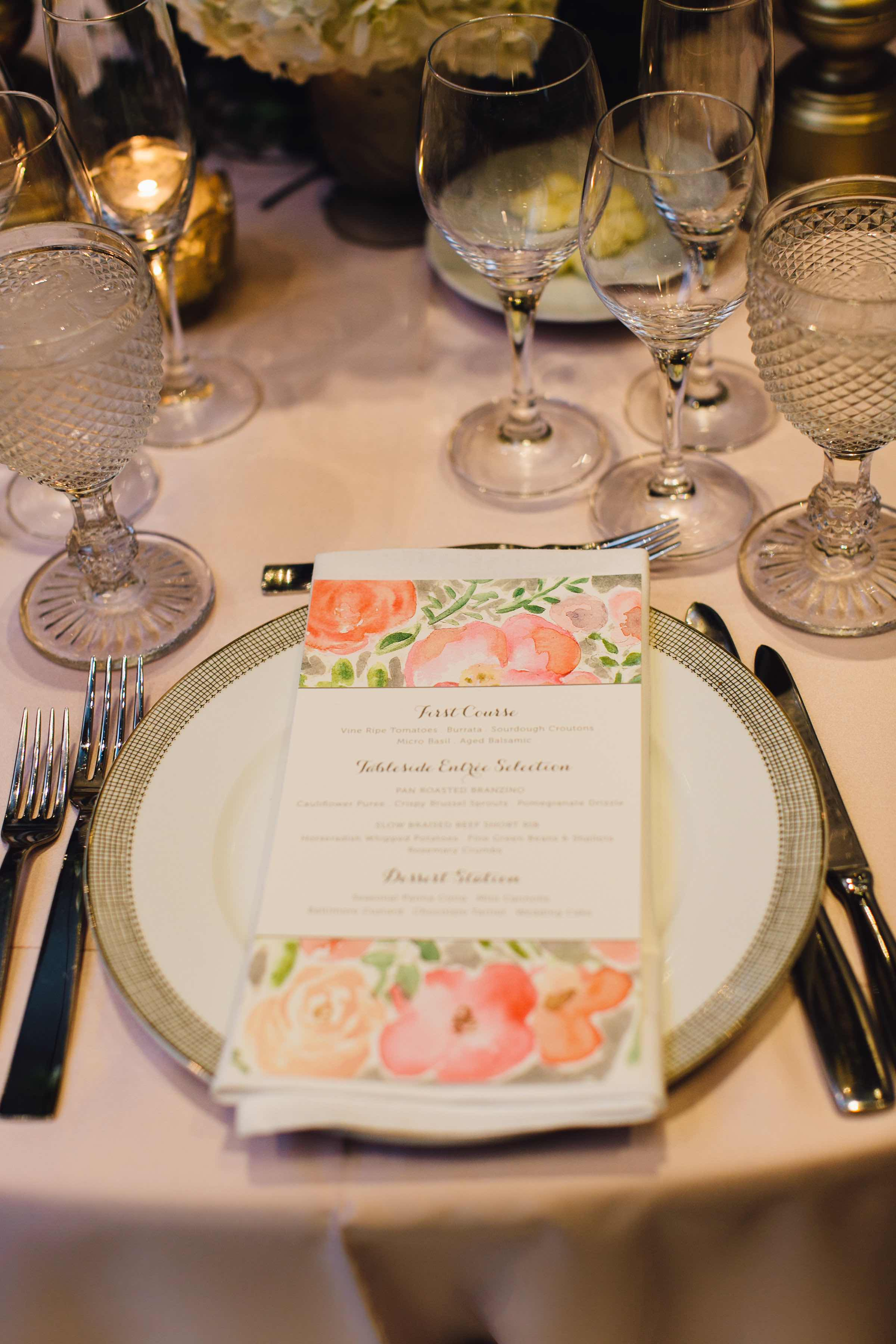 Four Seasons Baltimore Wedding: Dinner Place Setting